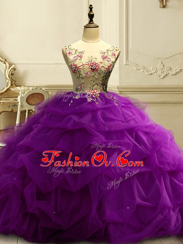 Edgy Purple 15 Quinceanera Dress Military Ball and Sweet 16 and Quinceanera with Appliques and Ruffles and Sequins Scoop Sleeveless Lace Up
