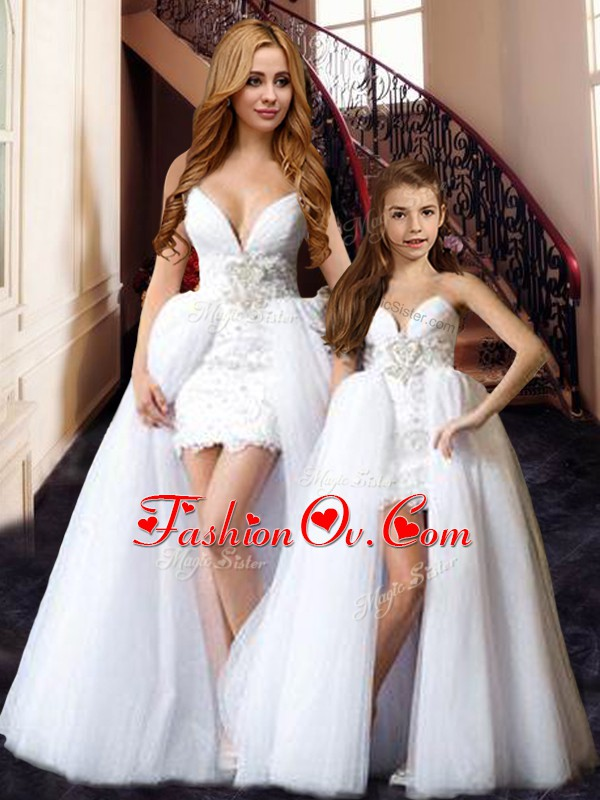 Fashionable Floor Length White Prom Party Dress Tulle Sleeveless Beading and Lace