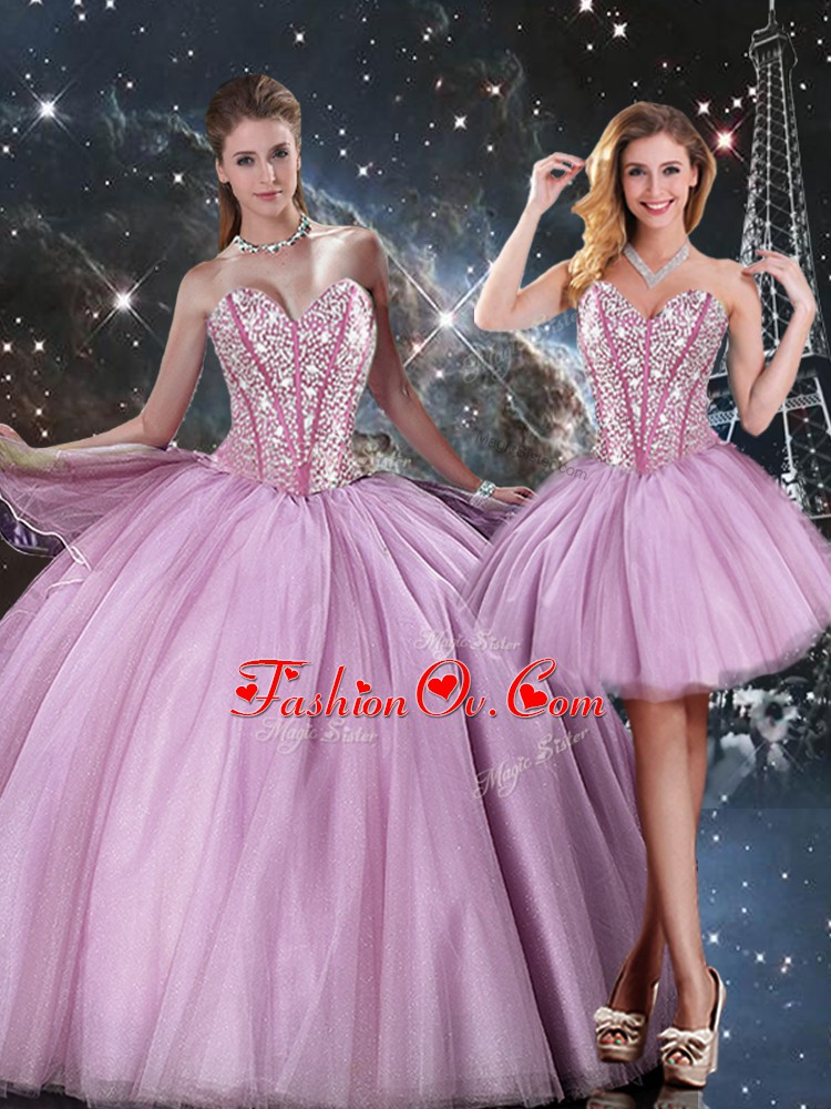 Sophisticated Lilac Tulle Lace Up Sweetheart Sleeveless Floor Length Sweet 16 Dresses Beading