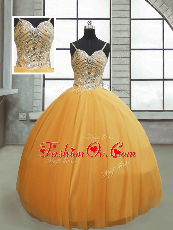 Chic Spaghetti Straps Sleeveless Lace Up Ball Gown Prom Dress Gold Tulle
