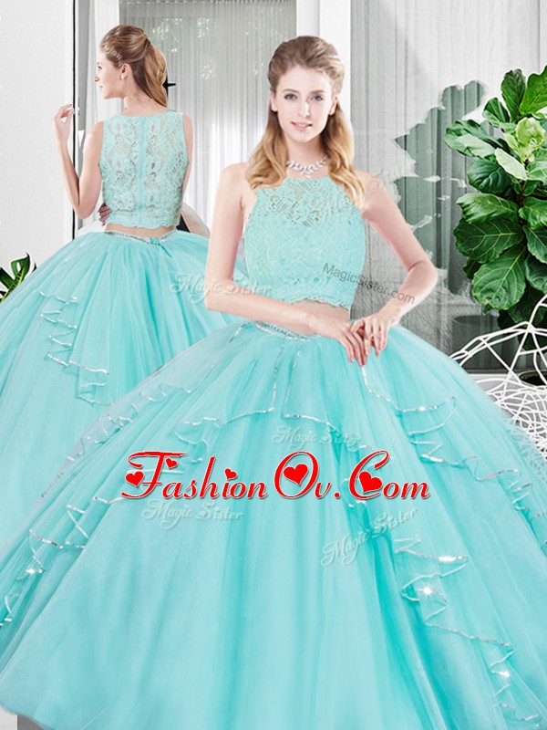 Attractive Sleeveless Tulle Floor Length Zipper Quinceanera Dresses in Aqua Blue with Lace and Ruffled Layers
