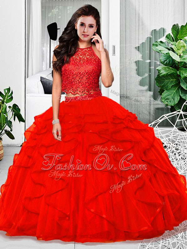 Fashionable Red 15th Birthday Dress Military Ball and Sweet 16 and Quinceanera with Lace and Ruffles Halter Top Sleeveless Zipper