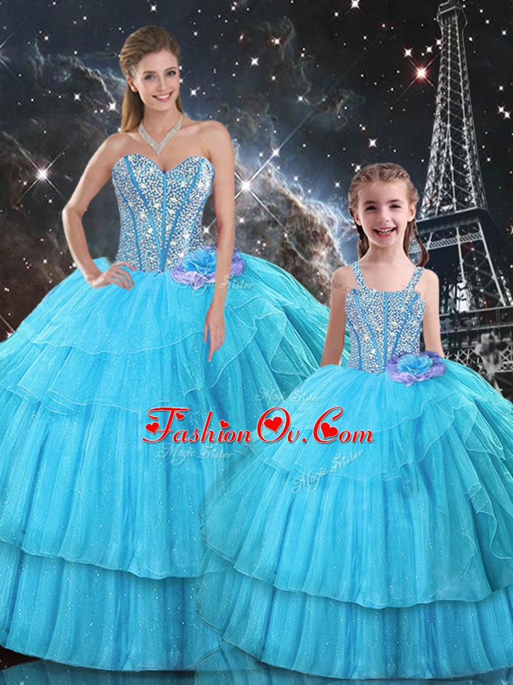 Floor Length Aqua Blue Quince Ball Gowns Sweetheart Sleeveless Lace Up