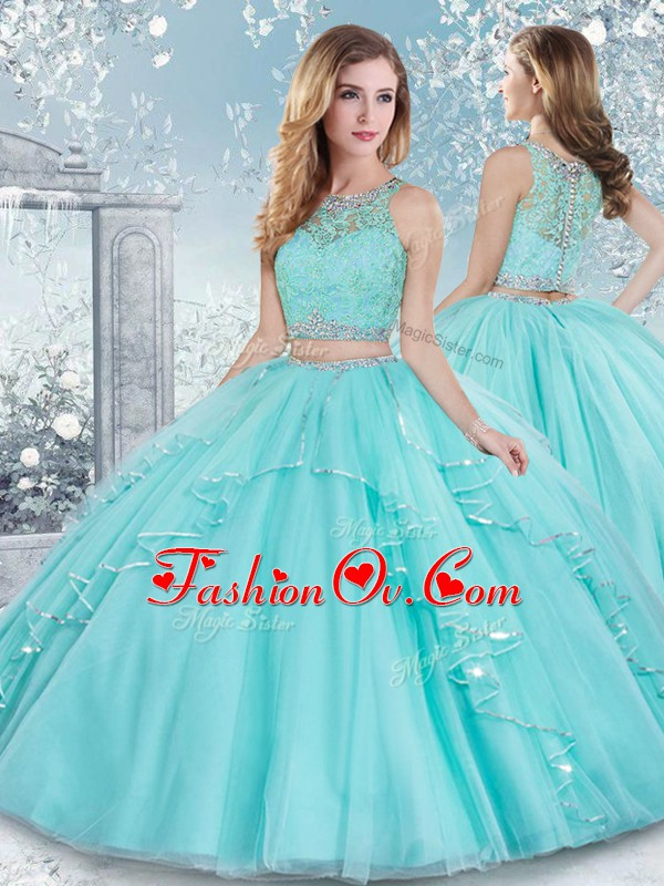 Dazzling Sleeveless Tulle Floor Length Clasp Handle 15th Birthday Dress in Aqua Blue with Beading and Lace