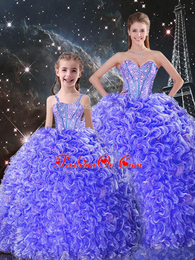 Sweetheart Sleeveless Lace Up 15 Quinceanera Dress Purple Organza