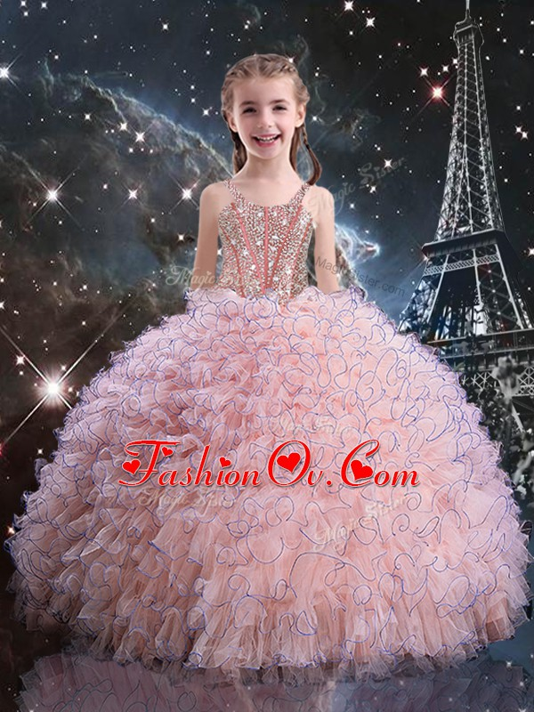 New Arrival Straps Short Sleeves Little Girl Pageant Dress Floor Length Beading and Ruffles Pink Organza