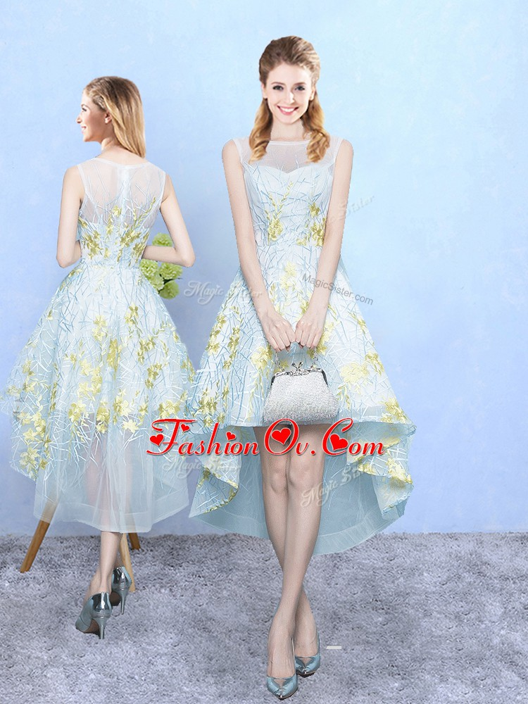 Sleeveless High Low Appliques and Pattern Zipper Damas Dress with Apple Green