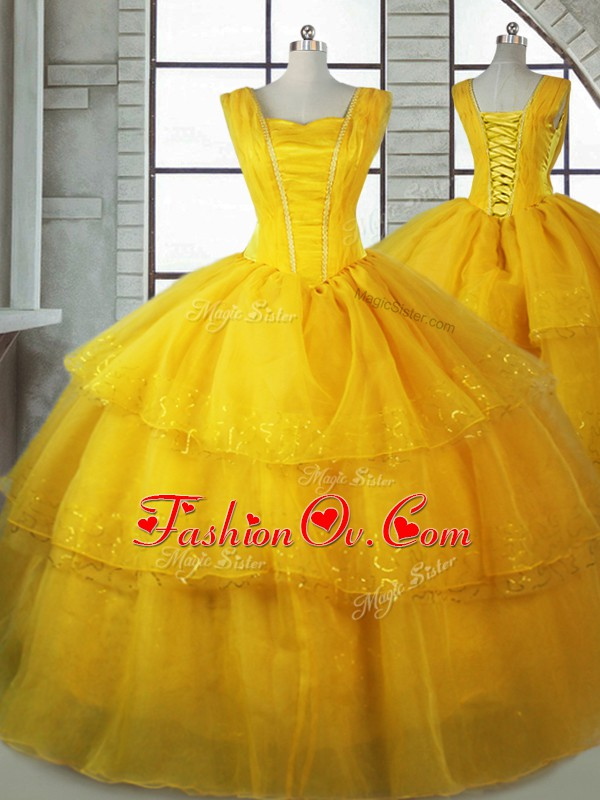 Customized Gold Straps Neckline Ruffled Layers Quinceanera Dresses Sleeveless Lace Up