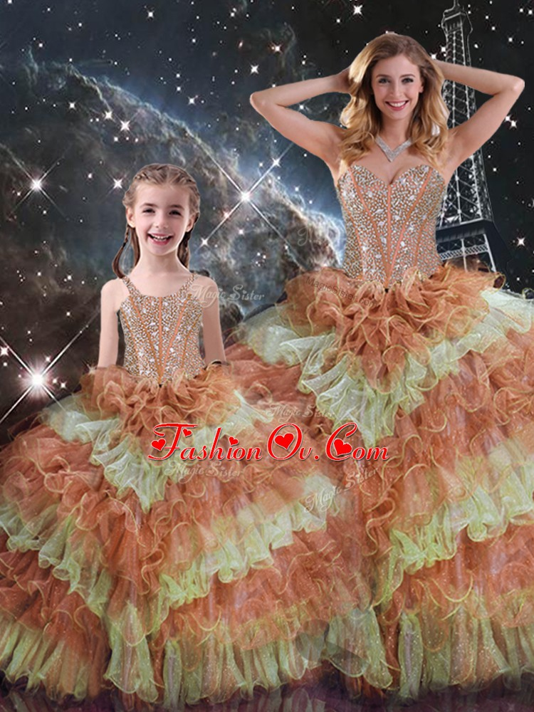 Trendy Sweetheart Sleeveless Quinceanera Gown Floor Length Beading and Ruffled Layers and Sequins Multi-color Organza