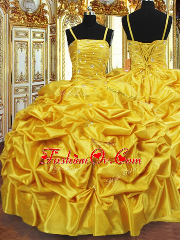 Inexpensive Sleeveless Floor Length Beading and Pick Ups Lace Up Ball Gown Prom Dress with Gold