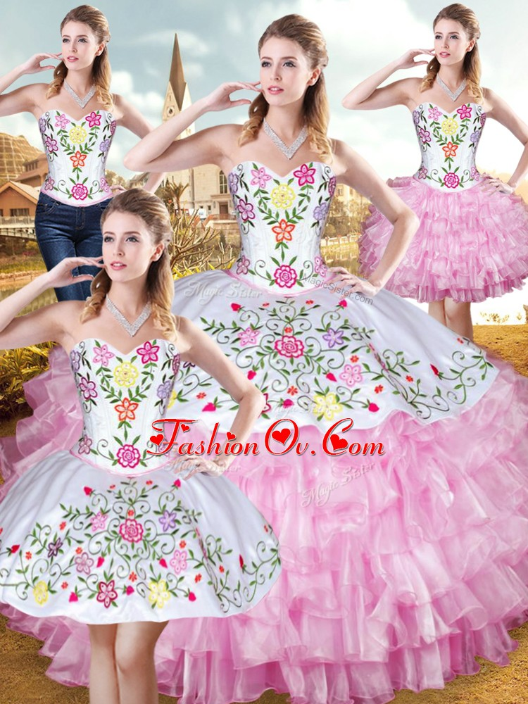 Rose Pink Sleeveless Organza and Taffeta Lace Up Vestidos de Quinceanera for Military Ball and Sweet 16 and Quinceanera