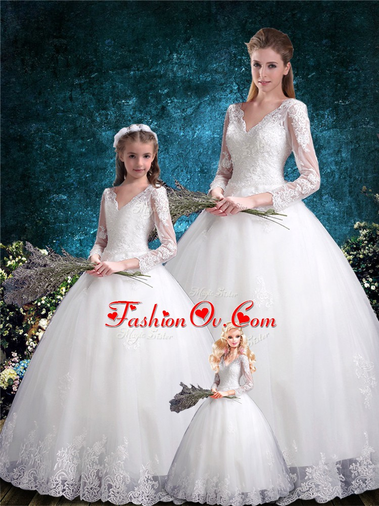 White Ball Gowns V-neck Half Sleeves Tulle Floor Length Lace Up Lace Sweet 16 Dress