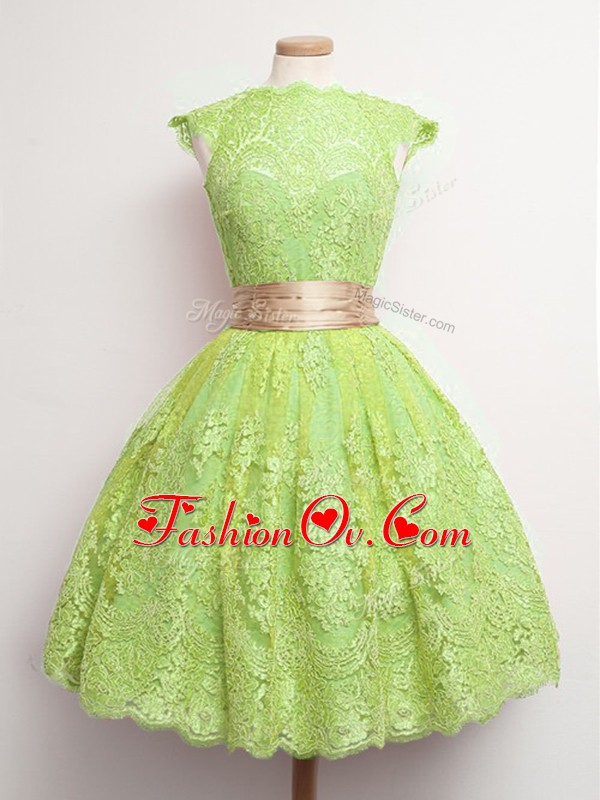 Discount Yellow Green Dama Dress for Quinceanera Prom and Party and Wedding Party with Belt High-neck Cap Sleeves Lace Up