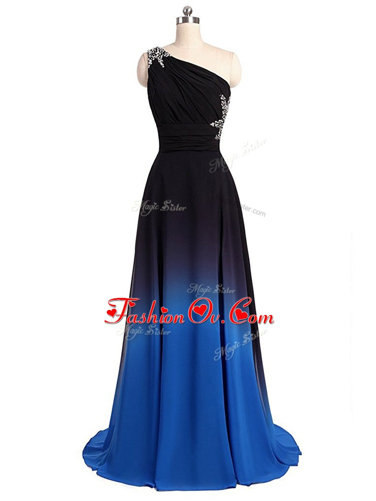 Sleeveless Beading and Ruching Lace Up Dress for Prom with Multi-color Brush Train