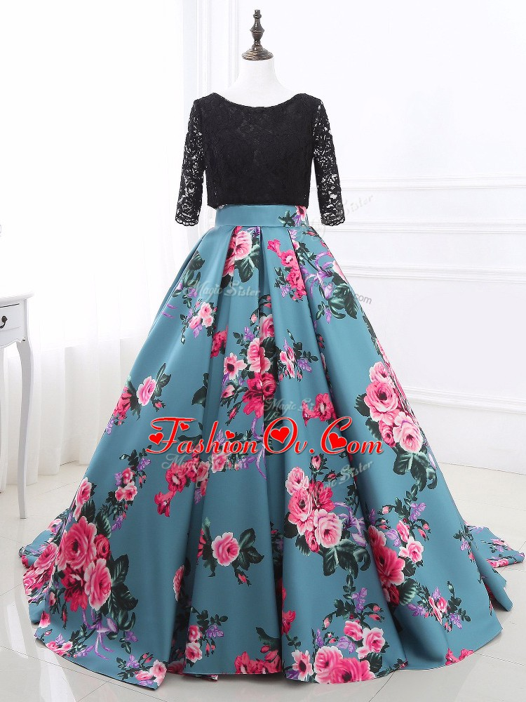On Sale Long Sleeves Lace and Appliques Backless Evening Wear with Multi-color Brush Train