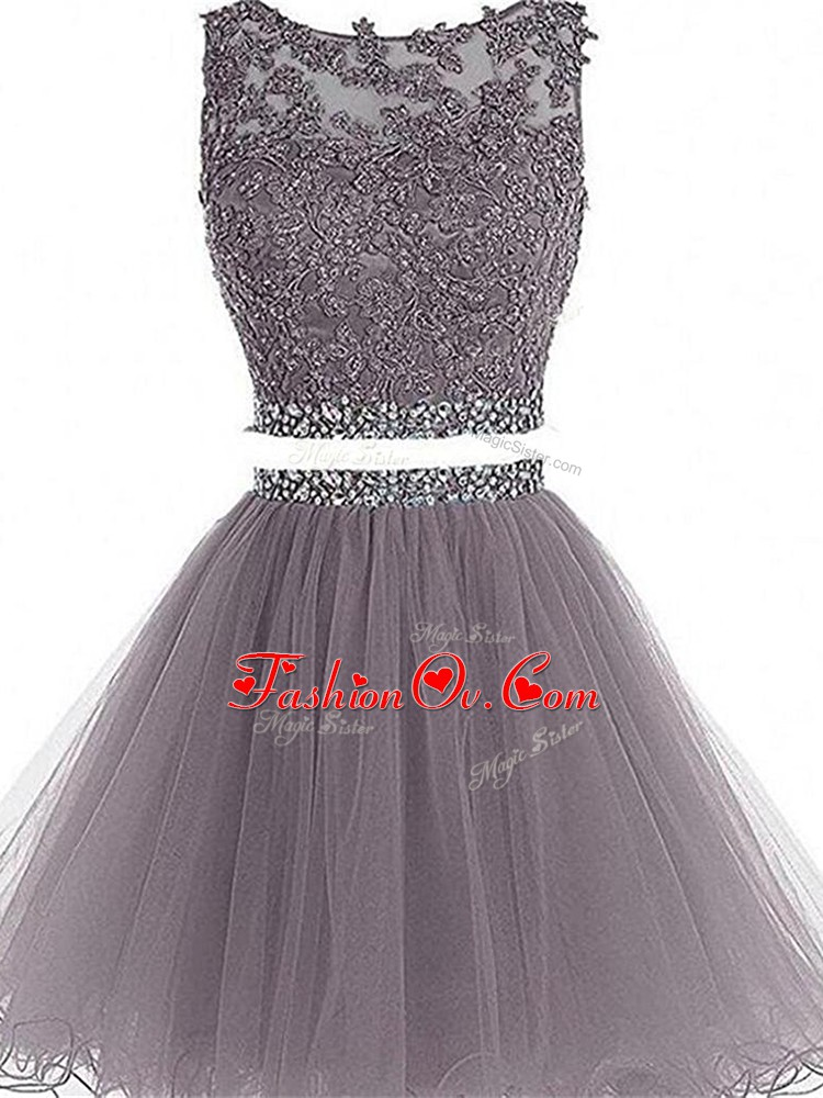 Comfortable Mini Length Zipper Cocktail Dresses Grey for Prom and Party and Sweet 16 with Beading and Lace and Appliques