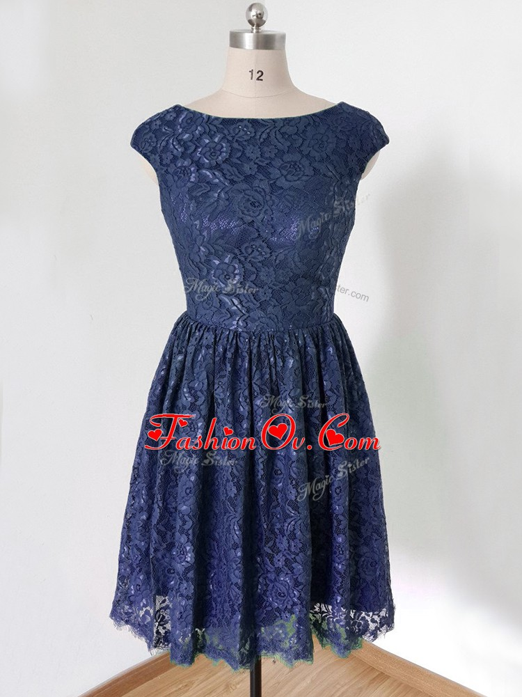 Exquisite Knee Length Lace Up Quinceanera Dama Dress Royal Blue for Prom and Party and Wedding Party with Lace