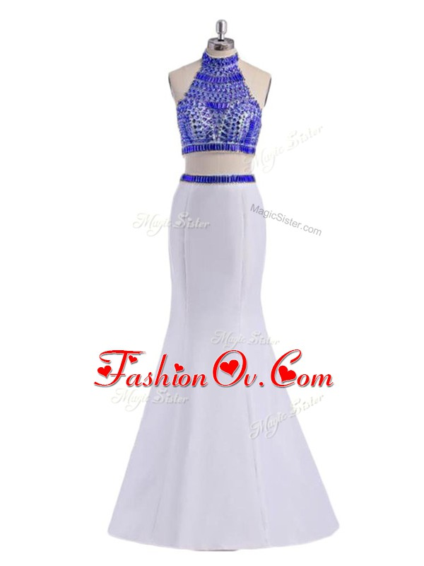 Perfect White Two Pieces Satin Halter Top Sleeveless Beading Floor Length Criss Cross Dress for Prom