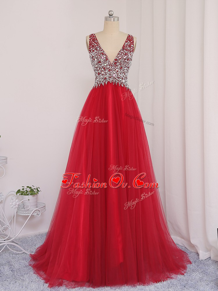 Sleeveless Brush Train Beading Backless Pageant Dress for Teens