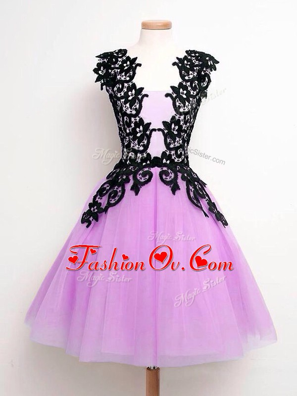 Lilac Straps Neckline Lace Bridesmaid Gown Sleeveless Lace Up