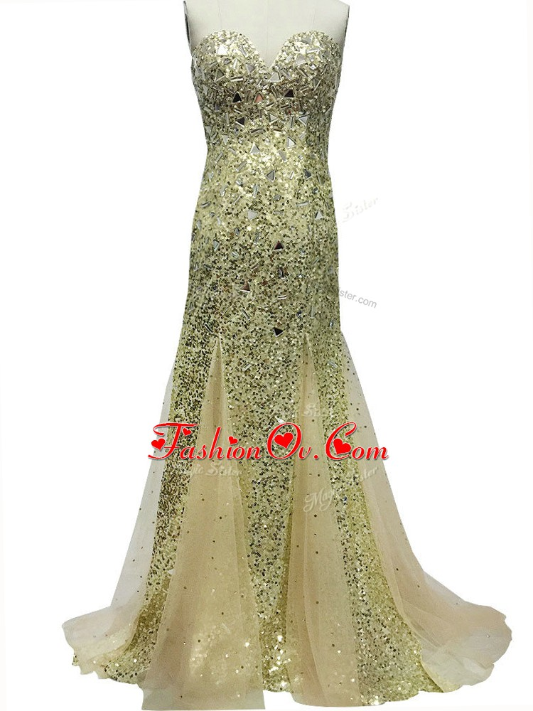 Olive Green Mermaid Tulle Sweetheart Sleeveless Sequins Zipper Evening Gowns Brush Train