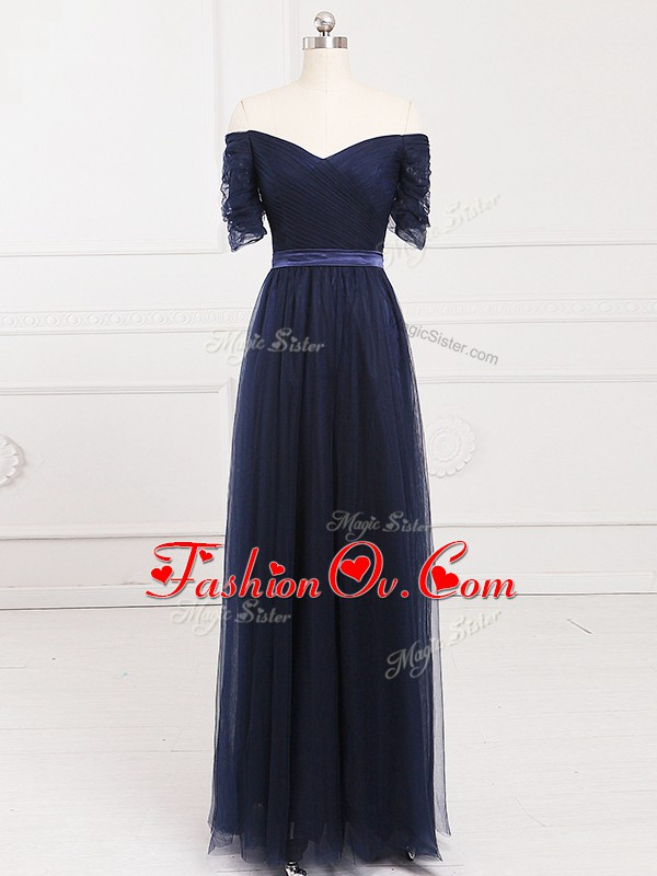 Superior Navy Blue Short Sleeves Tulle Lace Up Quinceanera Court of Honor Dress for Prom and Party and Wedding Party