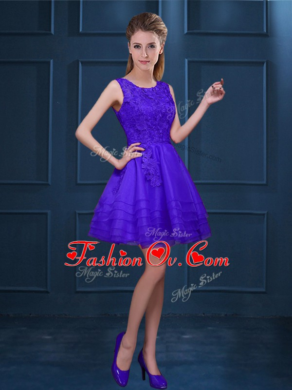 Glittering Purple Sleeveless Knee Length Lace and Ruffled Layers Zipper Court Dresses for Sweet 16