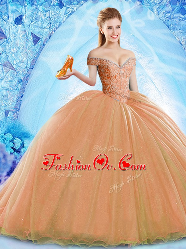 Glittering Organza Off The Shoulder Sleeveless Brush Train Lace Up Beading Quinceanera Gowns in Orange
