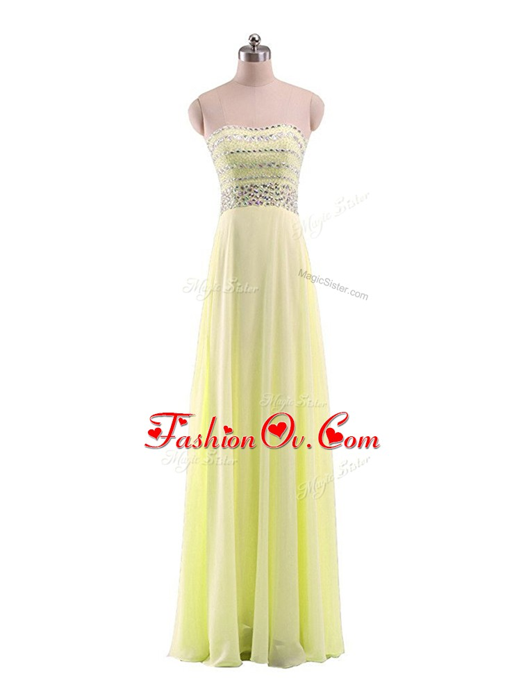 Suitable Floor Length Yellow Chiffon Sleeveless Beading
