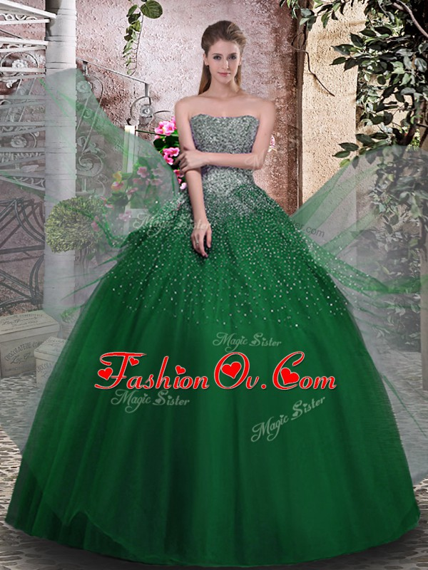 High End Tulle Sleeveless Floor Length Quince Ball Gowns and Beading