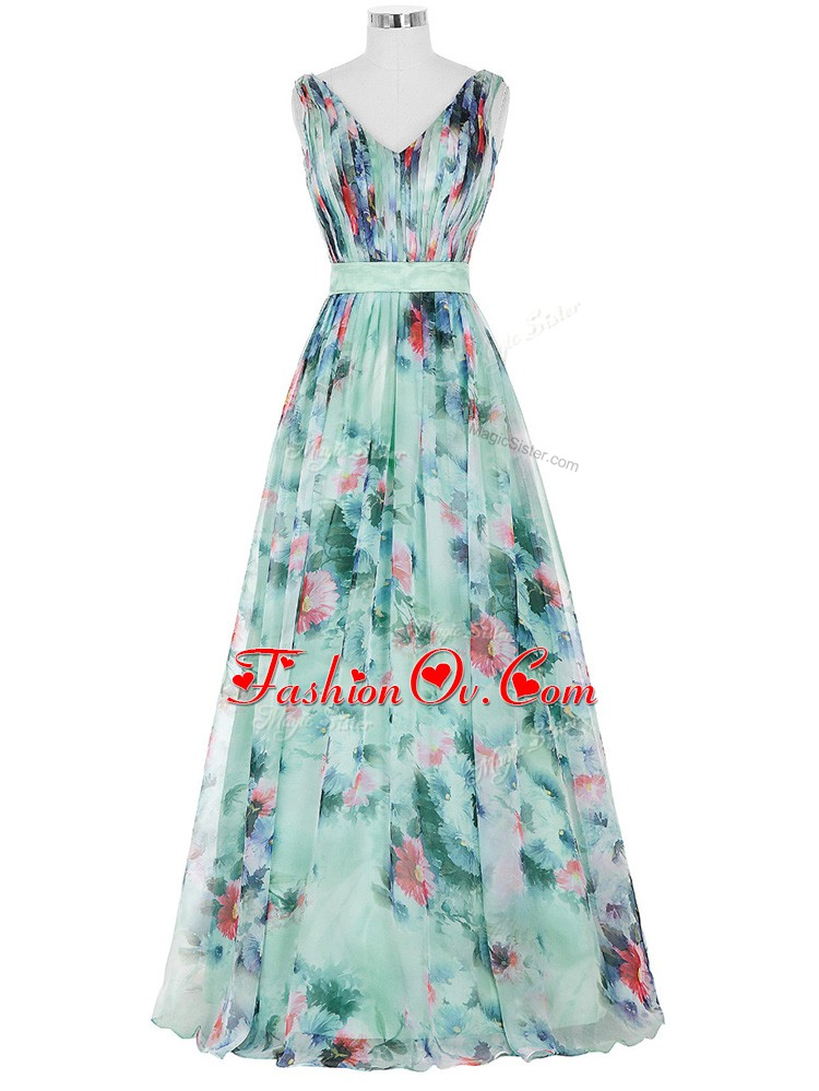 Floor Length Zipper Prom Dresses Multi-color for Prom and Military Ball and Beach with Ruching and Belt