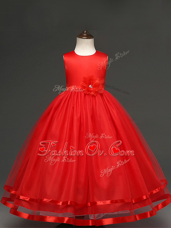 Hot Selling Red Ball Gowns Scoop Sleeveless Tulle Floor Length Zipper Hand Made Flower Pageant Gowns For Girls