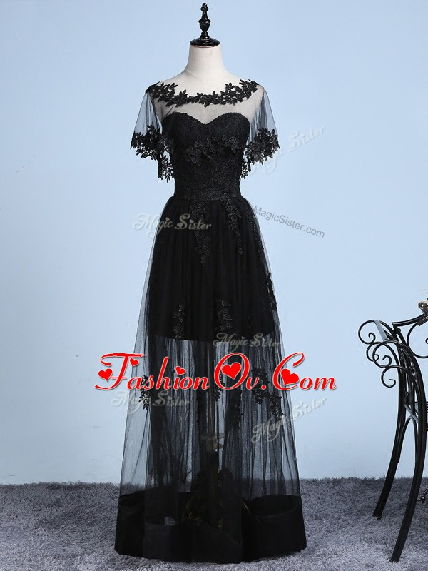 Floor Length Backless Pageant Dress Toddler Black for Prom and Party and Sweet 16 with Embroidery