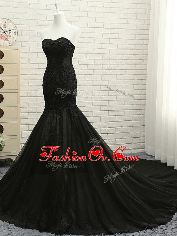 Sleeveless Court Train Lace Up Lace and Appliques Formal Evening Gowns