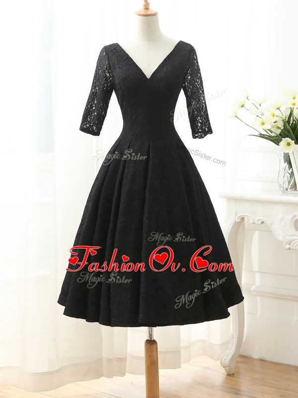 Black Half Sleeves Lace Lace Up Dress for Prom for Prom and Party