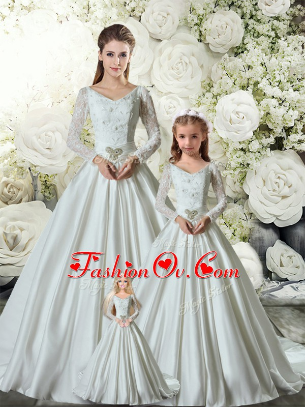 Nice White Long Sleeves Chapel Train Lace and Belt Quinceanera Gown