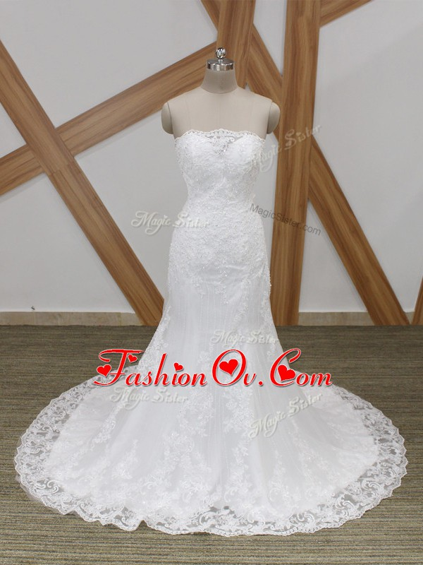Unique White Bridal Gown Scalloped Sleeveless Brush Train Lace Up
