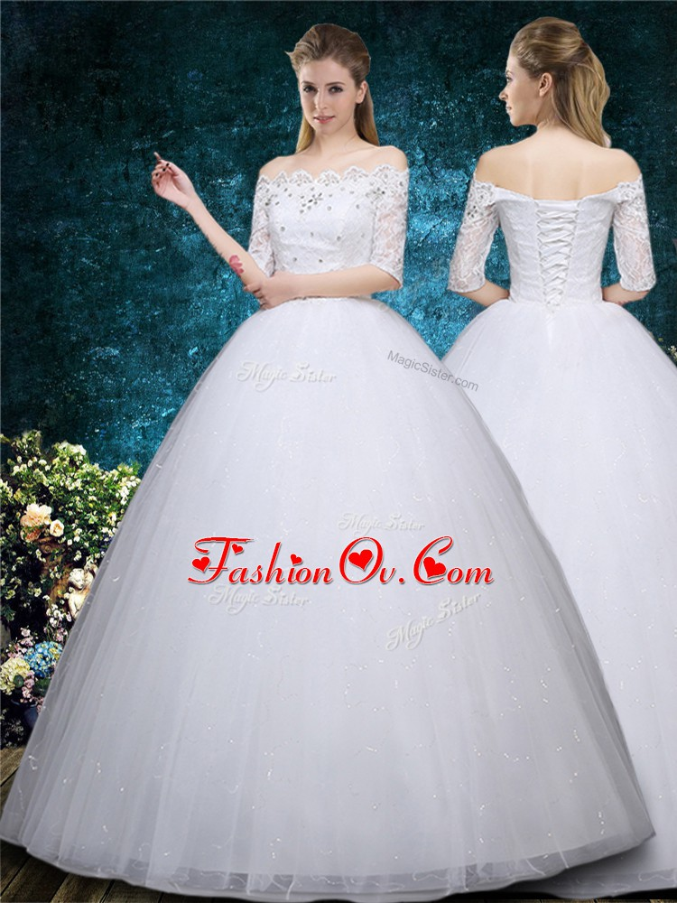 Sweet Floor Length White Wedding Dresses Scalloped Half Sleeves Lace Up