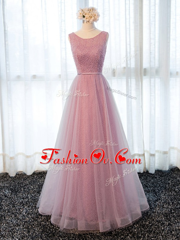 Pink A-line Beading and Belt Celebrity Style Dress Zipper Tulle Sleeveless Floor Length
