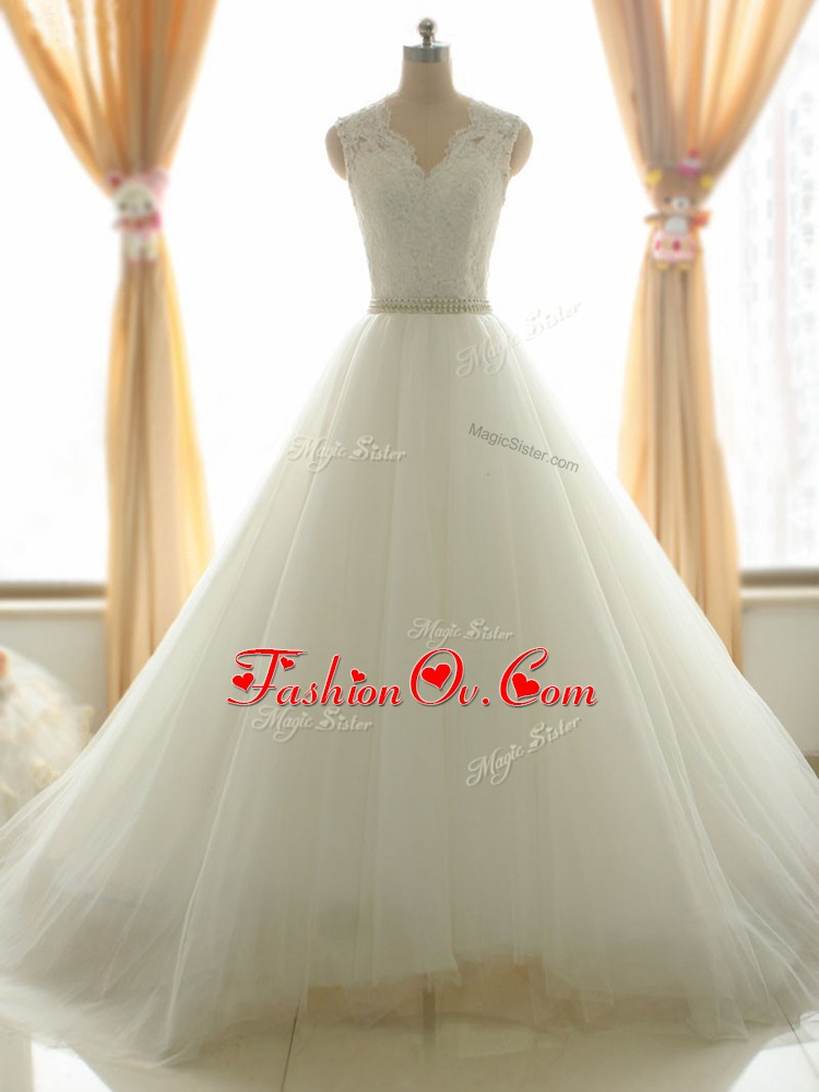 White Tulle Zipper V-neck Sleeveless Bridal Gown Brush Train Beading and Appliques