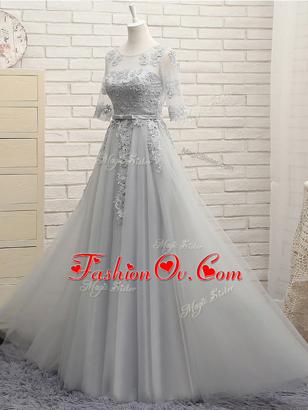 Grey Half Sleeves Tulle Lace Up Dama Dress for Prom and Party and Wedding Party