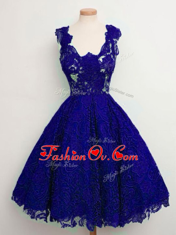 Free and Easy Sleeveless Knee Length Lace Lace Up Bridesmaid Gown with Blue