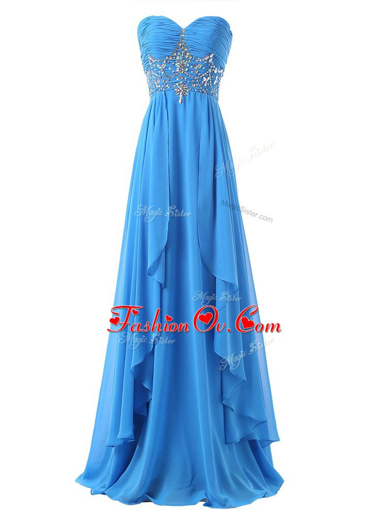Baby Blue Sleeveless Beading and Ruching Lace Up Prom Party Dress