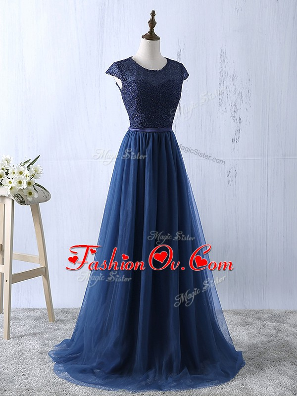Scoop Short Sleeves Tulle Prom Homecoming Dress Lace and Appliques Zipper