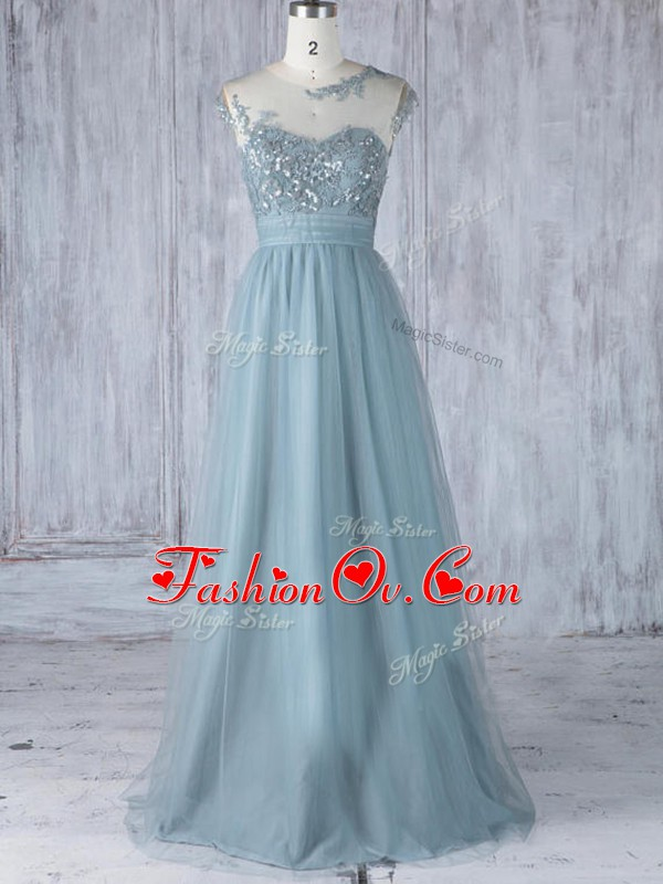 Floor Length Grey Wedding Party Dress Scoop Cap Sleeves Zipper
