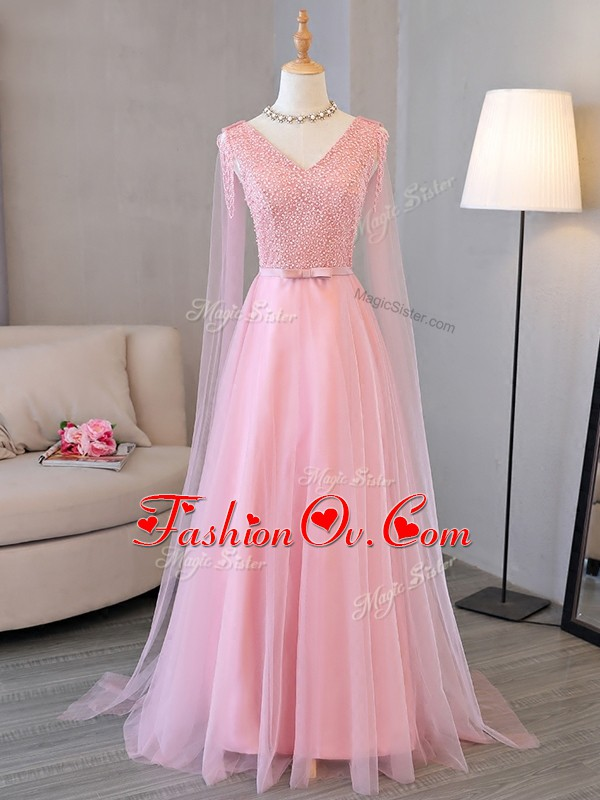 Dazzling Long Sleeves Floor Length Beading Lace Up Prom Evening Gown with Baby Pink