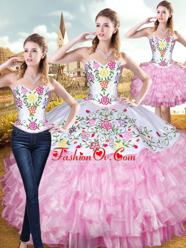 Fine Floor Length Rose Pink 15th Birthday Dress Sweetheart Sleeveless Lace Up