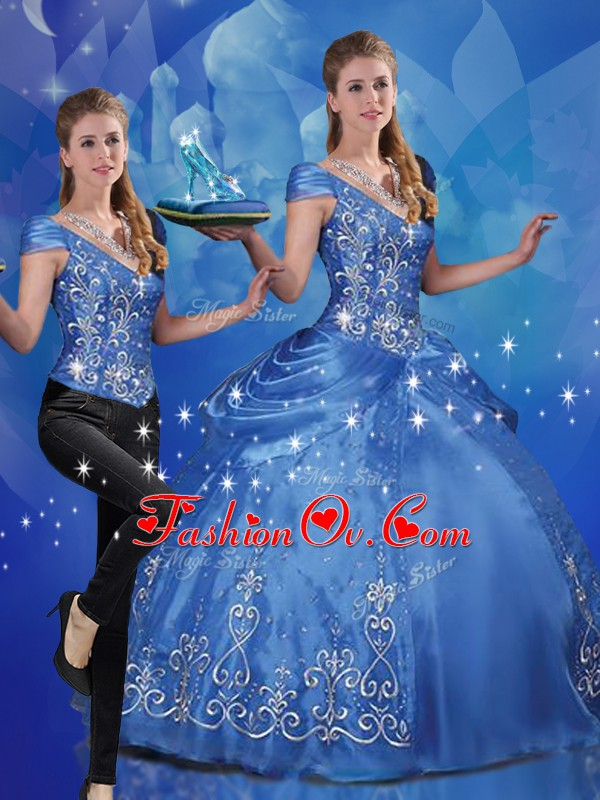 Organza Cap Sleeves Floor Length Sweet 16 Dresses and Beading and Embroidery