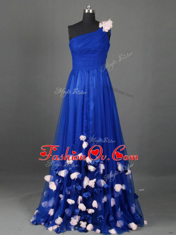 Clearance Floor Length Empire Sleeveless Royal Blue Pageant Dress for Girls Side Zipper