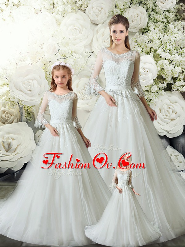 White A-line V-neck Sleeveless Tulle Court Train Zipper Lace Quinceanera Dress